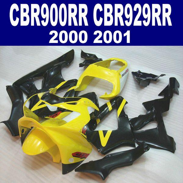 Kit de carenado de alta calidad para HONDA CBR900RR CBR929 2000 2001 bodykits CBR 929 RR CBR929RR carenados de color amarillo negro set HB5