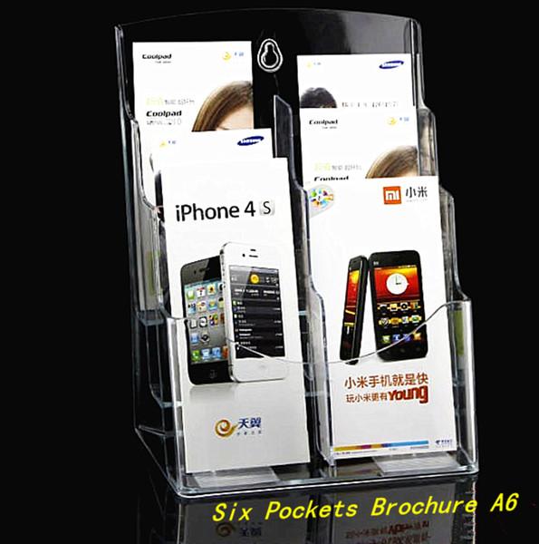 Effacer A6 Six Poches Brochure Brochure Littérature En Plastique Acrylique Présentoir Stand Pour Insérer Dépliant Sur Bureau 1 pcs Livraison Gratuite