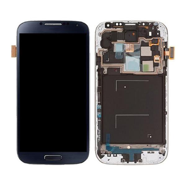 Al por mayor-Para Galaxy S4 I9500 Lcd Pantalla táctil Asamblea digitalizador con reemplazo de marco azul / blanco