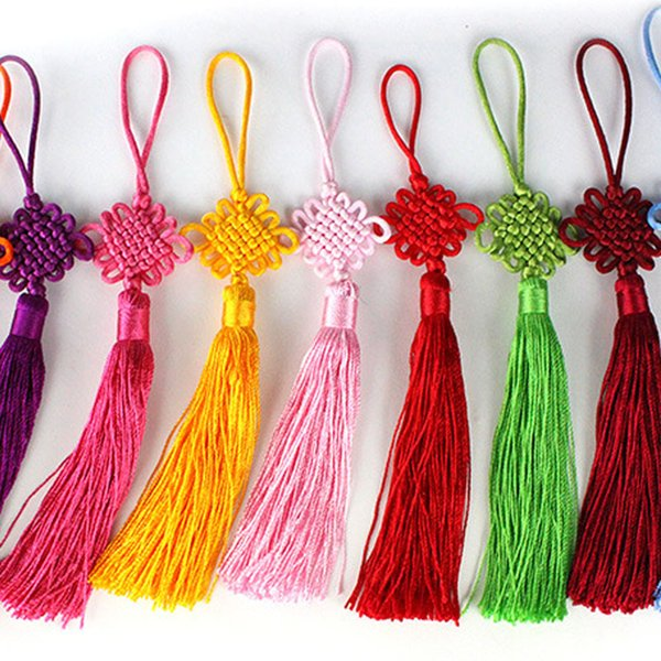 Multi Color Cute Chinese Knot Pretty Car Hanging Accessories DIY MINI Hand Weaving Craft Traditional Interior Decorations 100pcs/lot SK401