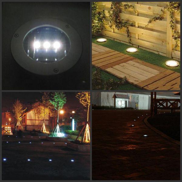 Yeni Varış 3 LED Güneş Su Geçirmez Yeraltı Işık Lambası Yuvarlak Zemin Lambaları Bahçe Yol Işıkları Ücretsiz Nakliye