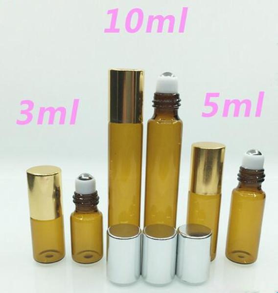 3 ml 5 ml 10 ml pequeño vidrio recargable Rollo en botella de perfume Botellas de vidrio UV Tapa de aluminio Aceite esencial mini botella recargable