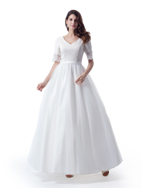 Simple A-line Puffy Lace Tulle Modest Wedding Dresses With Sheer Half Sleeves V Neck Satin Belt Plain Tulle Skirt Ankle Length Bridal Gowns