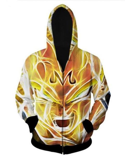 New Fashion Couples Men Women Unisex Dragon Ball Z 3D Print Zipper Hooded Sweatshirt Hoodies Pullover Top S-5XL LL8