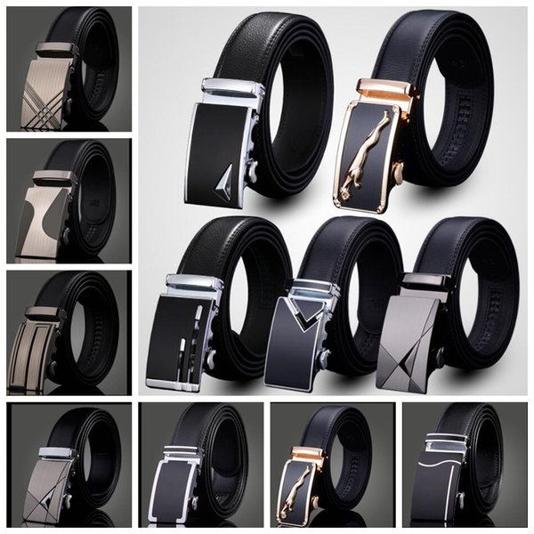 top popular men's leather belt Fashion automatic buckle strap for Business Luxury casual Waist Strap Belt Waistband 76 design KKA1361 2019