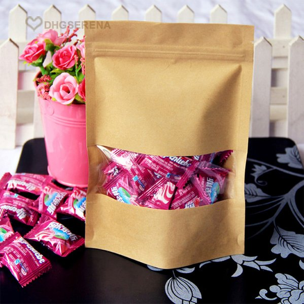 100pcs/lot- 14x20+4cm Zipper top Kraft paper stand up pouch bag with transparent window for dried food grains tea packaging