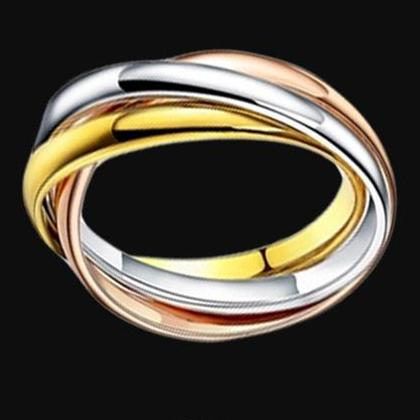 2016 HOT New Arrivals European and American Fashion 316L Stainless Steel Jewelry 18K Gold Plated Three Laps Wedding Rings For Women