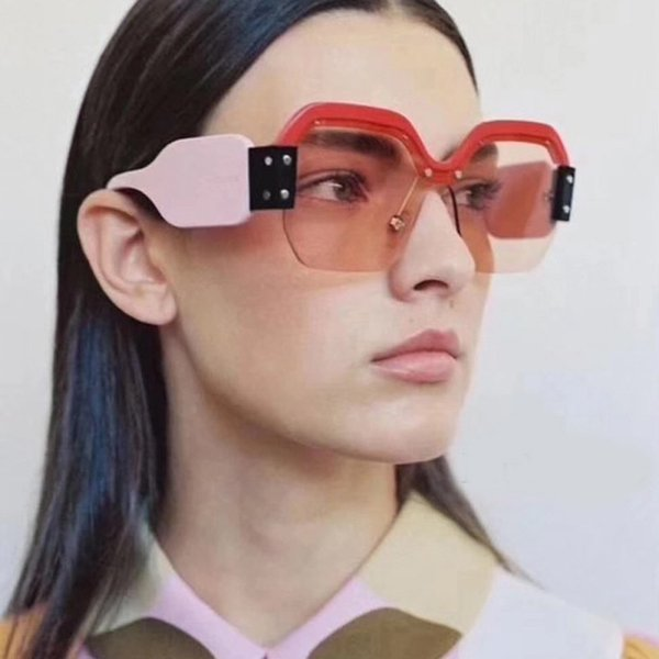 Newest Half Frame Sunglasses Women Brand Designer Square Sun glasses Women Fashion Sunglass Men Blue Integrated Shades