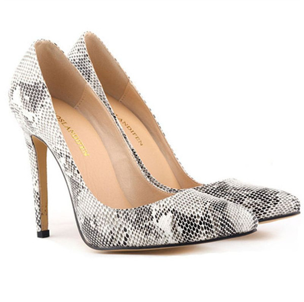 d71ba933e02 Women Snake Skin Pattern High Heels Office Lady Pointed Toe Pumps Sexy Thin  Heels Shoes PU Leather Sapato Feminino Cute Shoes Green Shoes From ...
