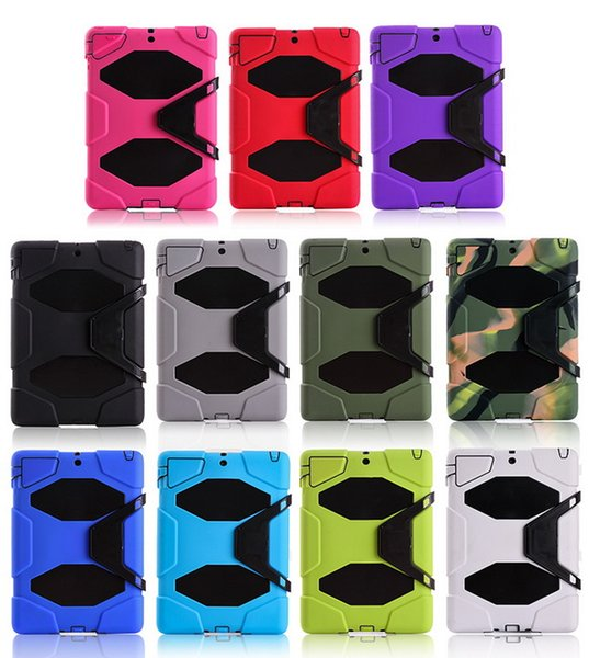 50pcs/lot Shockproof Heavy Duty Camouflage Plastic silicone Case For iPad 5 Air 6 Air2 Protect Skin Rubber Hybrid Cover Stand Case