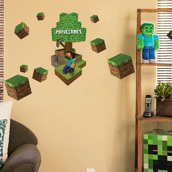 3d Minecraft Wall Stickers Steve Decorative Wall Decal Cartoon Wallpaper Kids Party Decoration Christmas Wall Art Exclusive Sale Designer Wall
