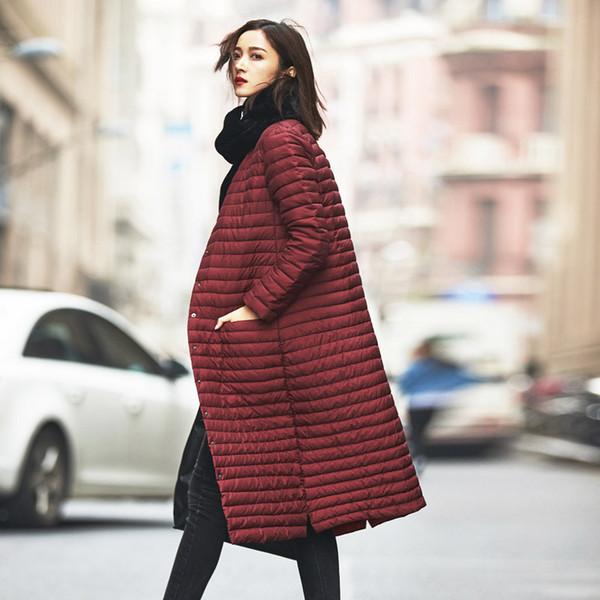 Piumino lungo donna ultraleggero all'ingrosso Jellpe Piumino lungo Plus Size 2017 Giacca leggera in cotone con collo in piumino invernale
