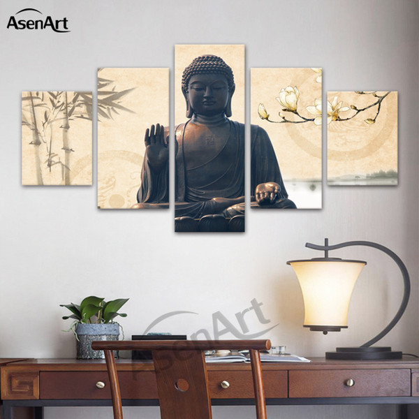 2019 Large Buddha Wall Art Picture Modern Canvas Print Religion Canvas Art Home Decor Living Room Bedroom Framed Dropshipping From Asenart 21 71