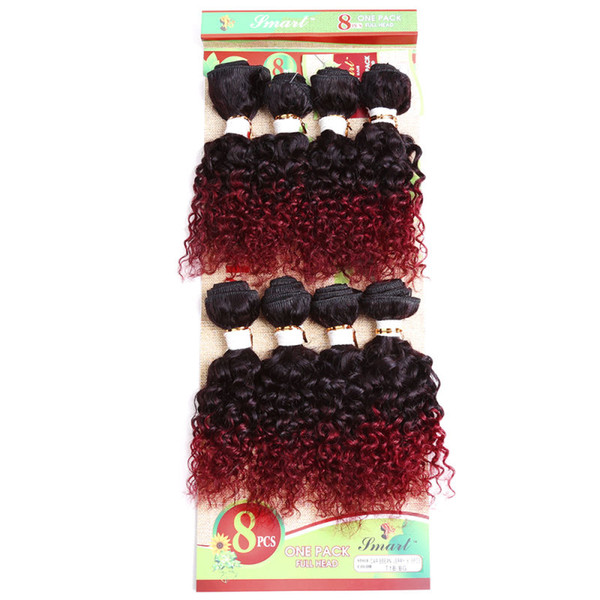 Kadoyee Human Virgin Remy Hair Extensions Kinky Jerry Curl Hair Weaves Bundles Wefts Black 1b/Bug 1b/30 1b/27 Ombre Color