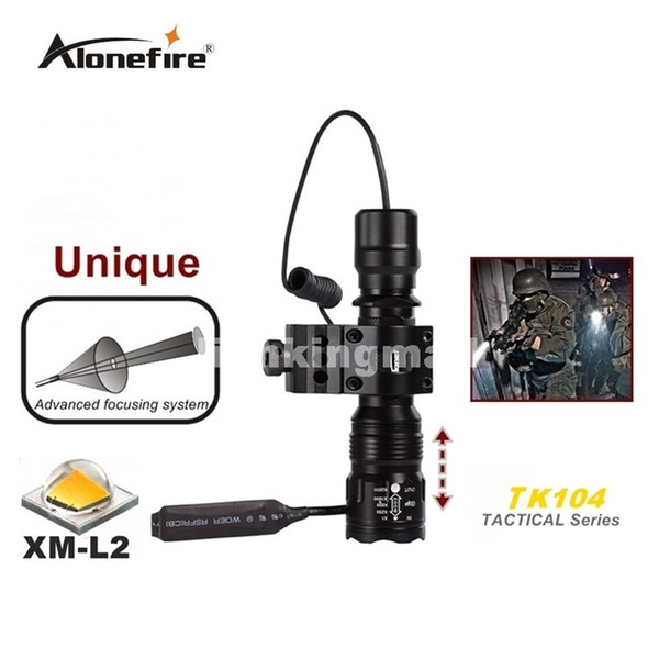 Alonefire TK104 L2 LED Tactical Gun Flashlight 2200LM 5 mode Pistol Handgun Torch Light Lamp Taschenlampe+gun scope mount+remote switch