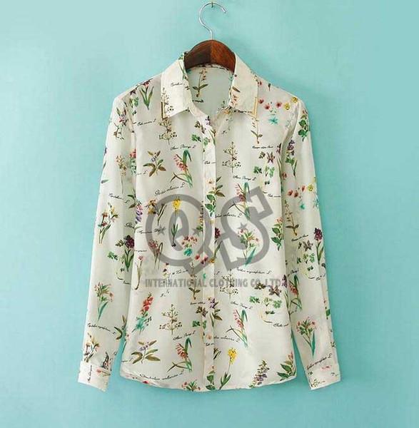 2015 Европа стиль Женщины Повседневная цветочный принт шифон блузка рубашки с длинным рукавом blusas женщина топы Q094