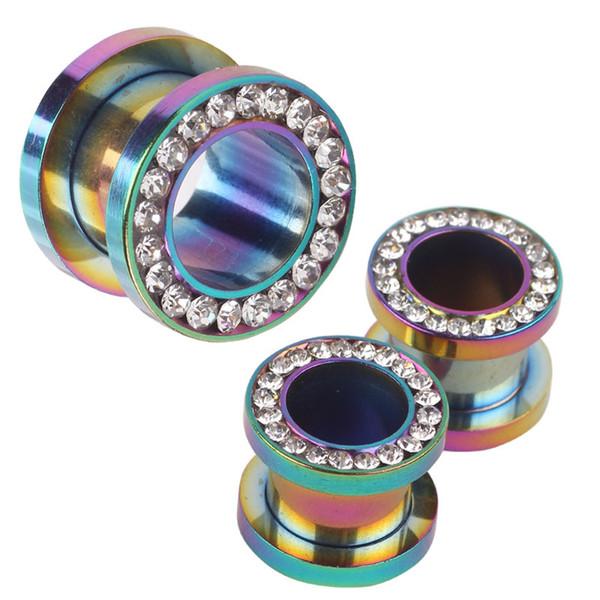 best selling Rainbow Crystal 6 sizes 3-10mm Fashion Screw Tunnel Ear Plug Clear Gem Flesh Tunnel Fit Gauges Piercing Body Plugs