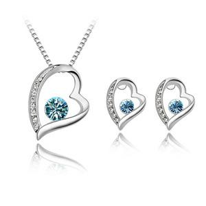 top popular High Quality Elegant 925 Silver Plated Crystal love Sweet Heart Pendants Necklaces Stud Earrings Bridal Wedding Jewelry Sets For Women girls 2019