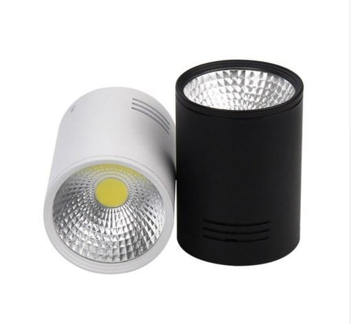 Dimmable montado en superficie LED Downlight 7W / 10W COB LED techo abajo AC110V / 220V punto de luz + conductor led blanco / negro Color de la carcasa