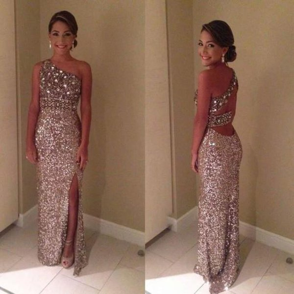 2016 New Sparkly Glitter Prom Dresses Champagne Sequin Sexy One Shoulder Crystal Sequin Backless Front Slit Evening Party Gowns