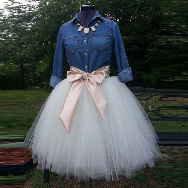 top popular 2016 White Ball Gown Tutu Party Skirts Real Image Custom Made Ruched Tulle Plus Size Women Skirts For Wedding Party Casual Skirt Bow 2021