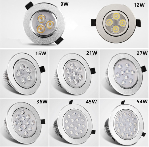best selling Recessed Downlight 3W 4W 5W 7W 9W*3W LED ceiling light sliver shell warm white cool white AC85-265V sportlight panel downlight Indoor light