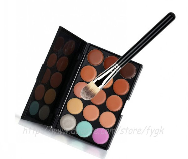 15 Colors Contour Face Cream Makeup Concealer Palette +Tapered Face Powder Blush Foundation Cosmetic Powder Brush