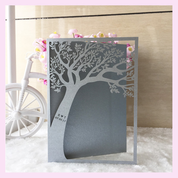 Al por mayor-100PC / set Tree Design Laser Cut invitaciones de boda Party Birthday Business Souvenirs Centerpieces Wedding Favor Decoration Tarjeta