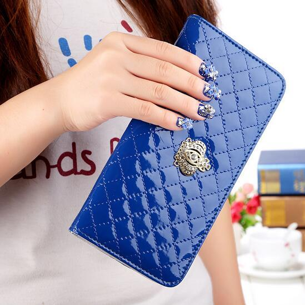 women purse wallet 2017 fashion classic womens wallets long crown grid credit card coin purses 10 colors