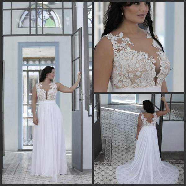 2442a70b3c7 New Plus Size Beach Wedding Dresses A Line Sheer Bateau Neck Sweetheart  Lace Top Bridal Gowns