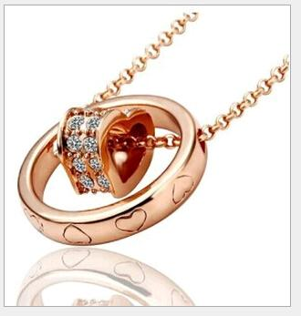 Rose Gold Plated Austrian Crystal Double Heart Pendant Necklace with Rhinestone Circle Fashion Jewelry Lobster clasp free shipping