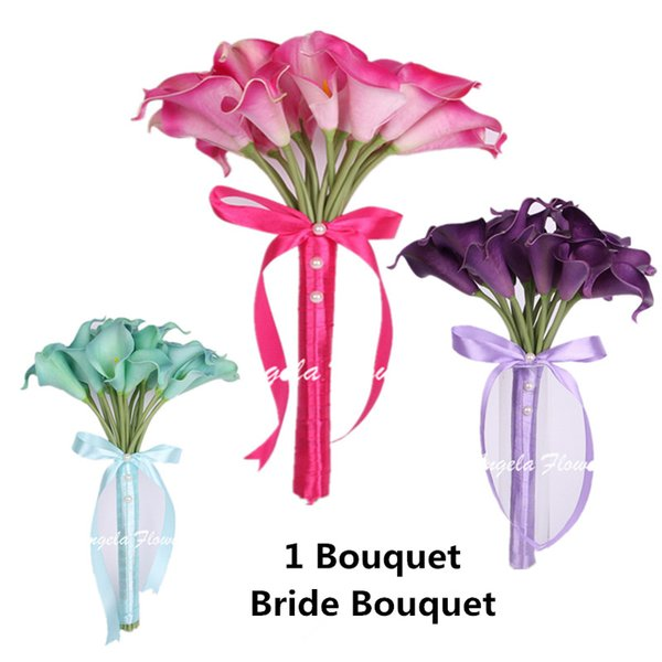 Grace PU Real Touch Calla Lily wedding bride hand flower bouquet decorative artificial flowers for Wedding Decoration