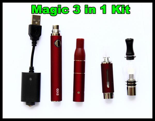 Magic 3 In 1 Ecig Starter Kits for Dry Herb Wax E-Liquid Vaporizer Pen Glass Dome MT3 EVOD Battery 650mah 900mah 1100mah Vape Kit Free DHL