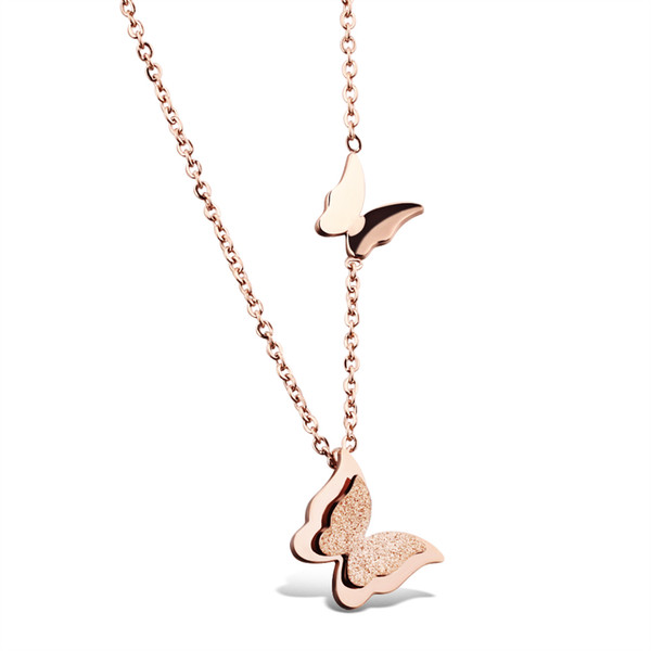 Butterfly Collarbone Woman Necklaces Cute Rose Gold Plated Stainless Steel Women Jewelry Gift Link Chain
