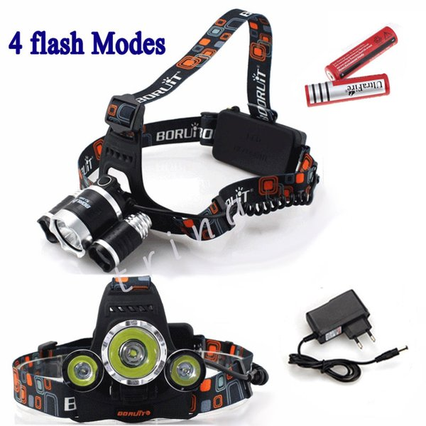 5000LM 3X CREE XML T6 LED Headlamp Headlight 4 Mode Head Lamp +AC Charger +2*4200mAh 18650 battery for Outdoor Sport Camping light