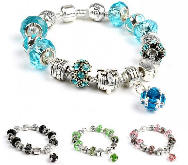 66038eab64db 10 Colors Antique Silver Bead Crystal Heart Pendant Love Heart Beads Fit  Women Cuff Bracelets