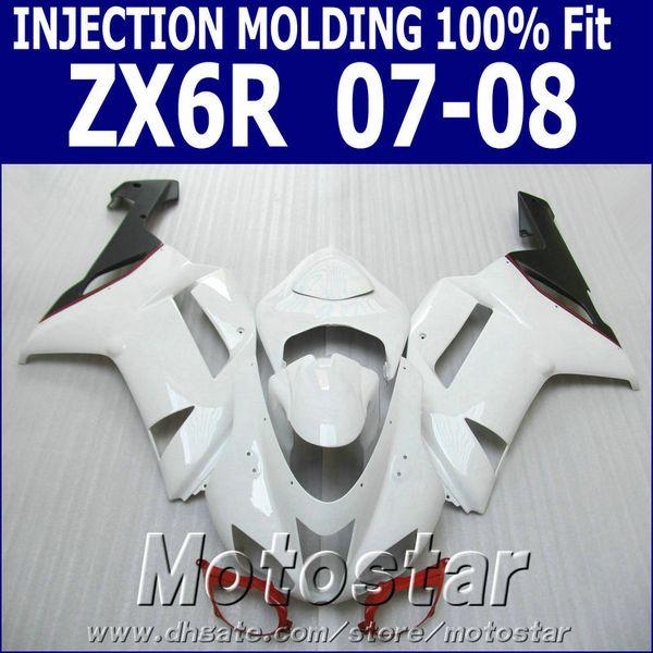 Free shipping Fairing kit for Kawasaki Injection molding ZX-6R ZX636 07 08 fairings 2007 2008 ZX6R Ninja red black white bodywork set NJ93