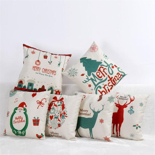 45 * 45 cm Feliz Natal E Um Feliz Ano Novo Elk Algodão Fronhas Xmas Decorativa Fronha Uso Doméstico Presente de Natal Q0278