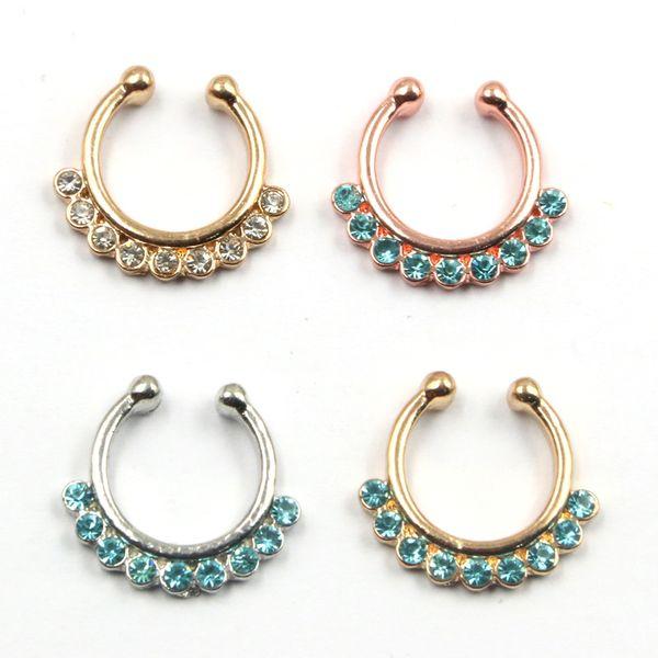 10pcs Goth punk Medical septum Piercing blue crystal nose gold ring indian silver non piercing fake nose ring hoop clip N0023