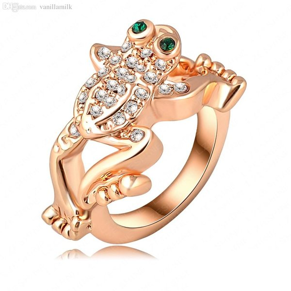 Wholesale Fashion Designer Ring 18k Rose Gold Plated Austrian Crystal Jumping Frog Exaggerated Rings For Men Women Party Jewelry