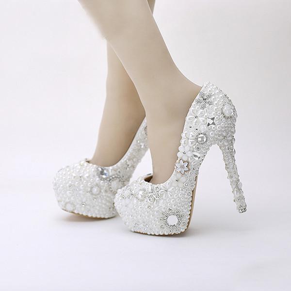Großhandel Schneewittchen Perle Hochzeit Schuhe Strass Kristall Kleid Schuhe Party Prom Plattform High Heels Pageant Event Pumps Frauen Schuhe Von