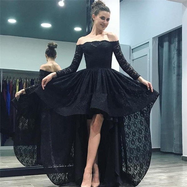2017 Black Lace High Low Prom Dresses Off Shoulders Long Sleeves Evening Dress Backless Cheap Cocktail Homecoming Gowns Custom Formal Dress