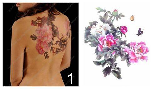 Fleurs de pivoine gros-grand taille Phoenix papillon arrière imperméable grand autocollant de tatouage temporaire pour Body Art 10 types de styles