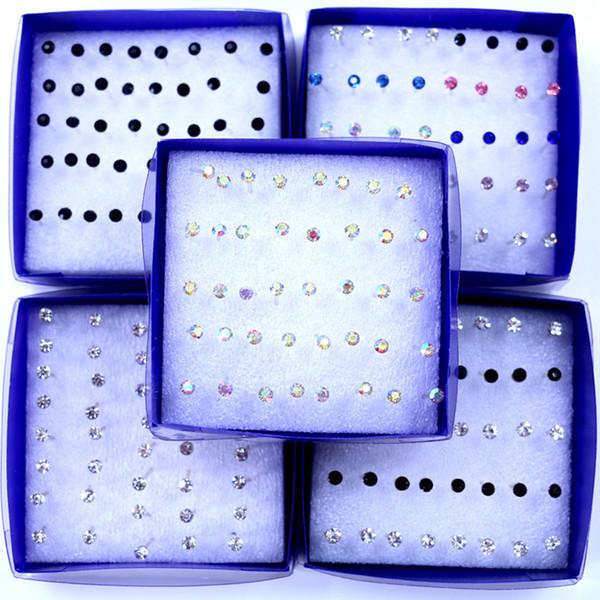 Gioiello Orecchino in cristallo trasparente 3 mm Borchie Allergy mix colori 300 pezzi / lotto