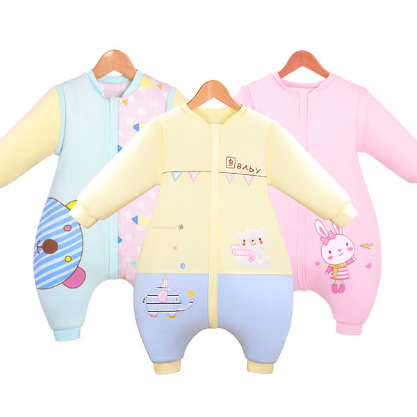 top popular Fall and winter baby sleeping bags thicker cotton newborn infants and young children's cartoon Blanket Sleepers 2021