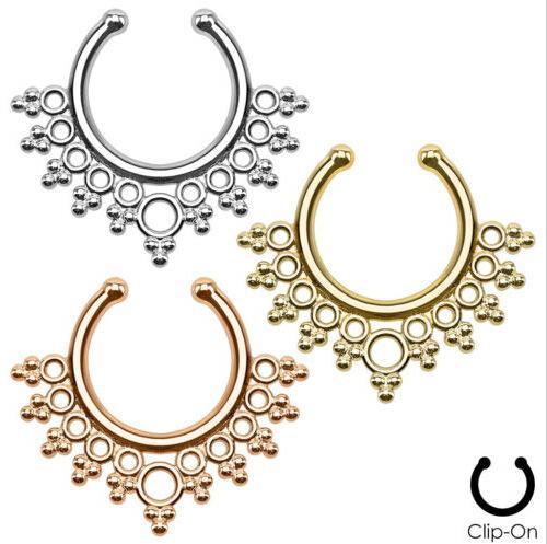 Fashion Nose Rings Studs fake nose ring Unisex Punk Non Piercing Fake Nose Ring Stud Hoop 18k Gold Fake Piercing Septum Indian Piercing