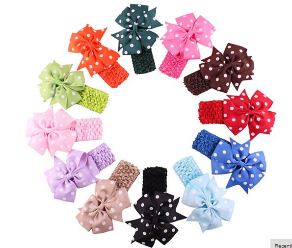 5%offStylish 12 colors Baby Headbands Girl's Flower Hair Bow Wave Head Wear Hair Accessory hair band for 1 to 3 Years Kids10pcs/lot