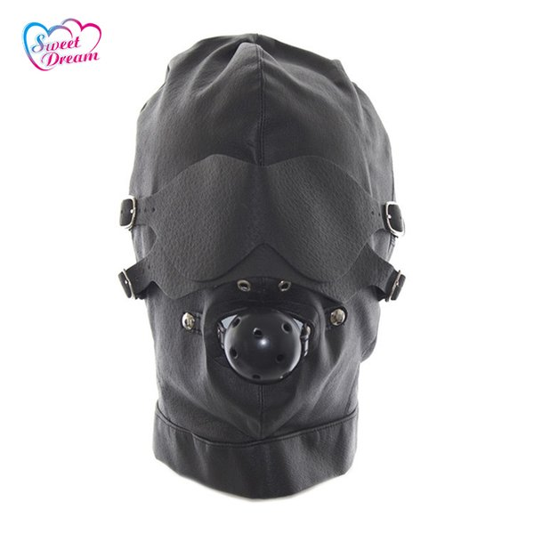 Sweet Dream Pu Leather Bondage Masks /Hoods With Mouth Gag Blindfold Adult Game Sex Accessories Sex Toys For Couples Dw -440