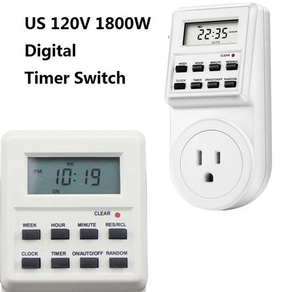 digital timer switch US 120V 1800W Smart Home LCD screen Socket timer Plug Power Supply week clock setting memory function
