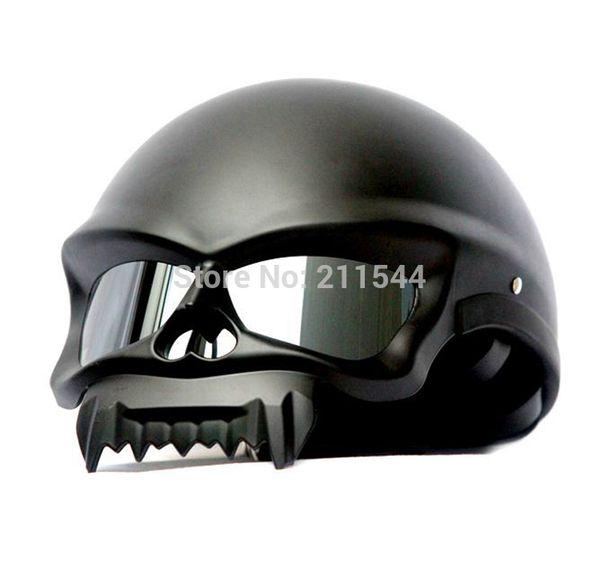 2017 New Fashion personality skull shape motorcycle helmet Masei 429 Matt Black half helmet Motorcycle for harley Riding team